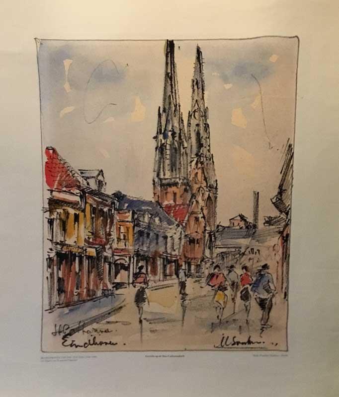 poster Gezicht op de Catharinakerk