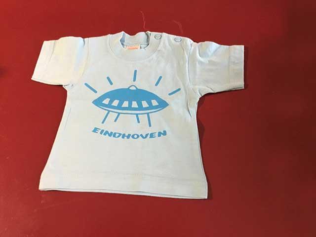 Baby t-shirt Evoluon blauw op lichtblauw