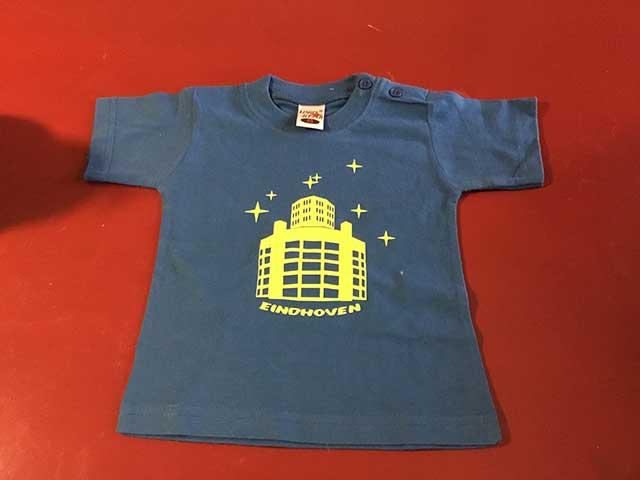 Baby t-shirt Lichttoren geel op donkerblauw