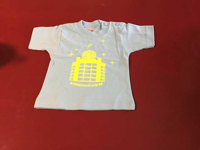 Baby t-shirt Lichttoren geel op lichtblauw