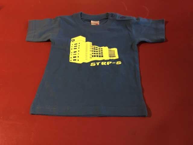 Baby t-shirt STRP-S geel op donkerblauw