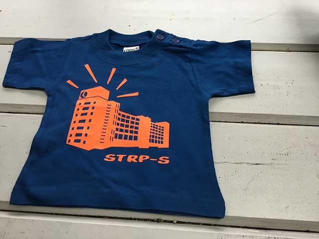 Baby t-shirt STRP-S oranje op donkerblauw