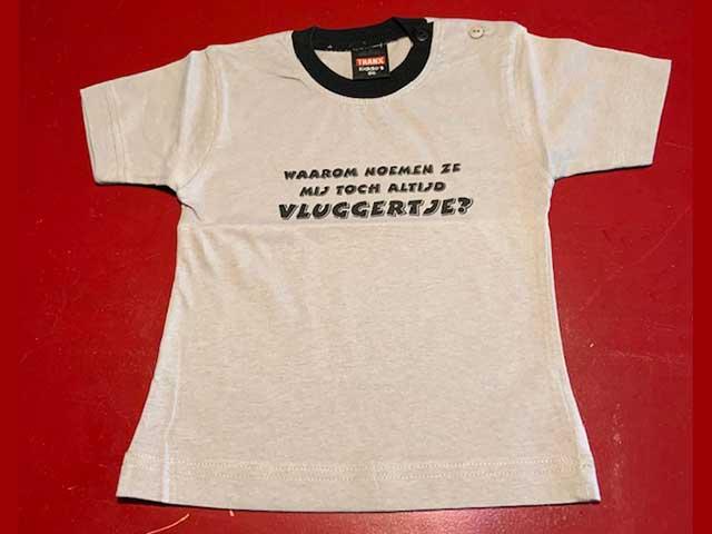 Baby t-shirt Waarom noemen ze mij toch altijd vluggertje