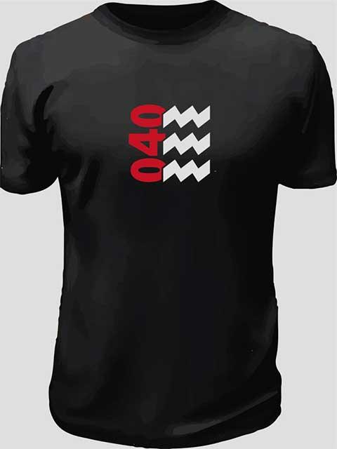 Eindhoven zwart met 040 in rood en witte vibes